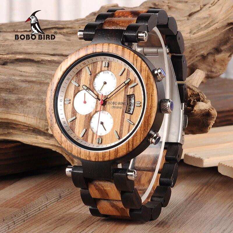 BOBO BIRD Auto Date Display Wood Watch Men Relogio Masculino Luxury Business Wrist Stop Watches with