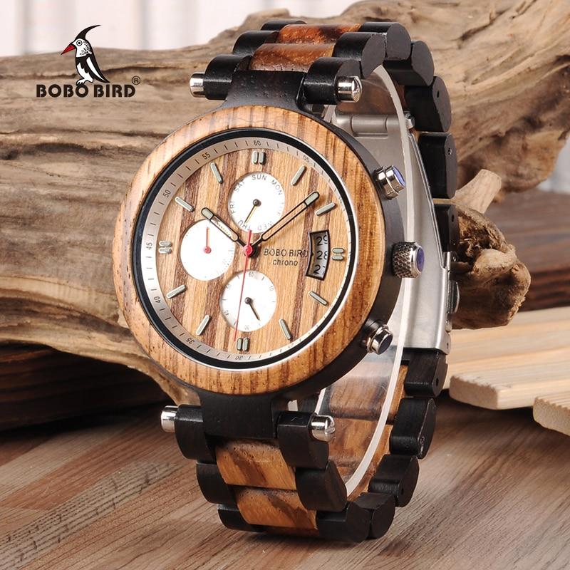 BOBO BIRD Date Automatique Affichage Bois Montre Hommes Relogio Masculino D'affaires De Luxe Poignet Chronomètres avec V-P17 Drop Shipping