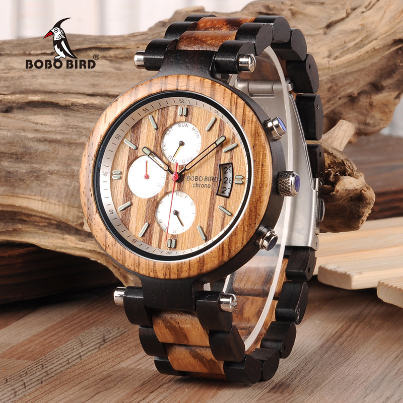 BOBO BIRD V-P17 High Quality Wood Watches Men Luxury Business Waterproof Wrist Stop Watch with Auto Date Display