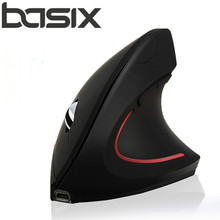 BASIX NEW 2 4Ghz Wireless Mouse Optical Healthy Ergonomic Mouse 5 Buttons With DPI Switch Vertical
