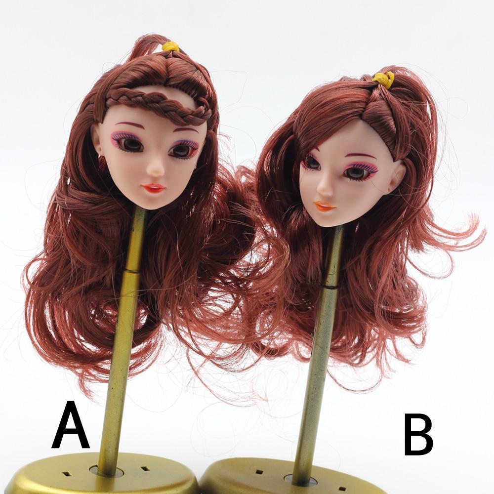 1Pcs Fashion Cute Doll 3D Head Brown Curly Hair DIY Accessories For Barbie Doll Best Girl
