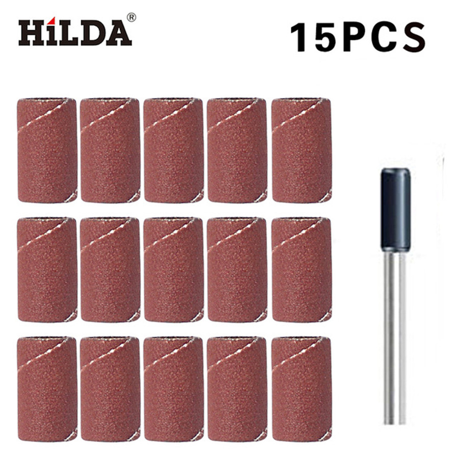 HILDA 15Pcs Abrasives Sanding Band 8.5mm With Drum Sander Dremel Accessories Fits For Dremel Rotary Tools Power Tool