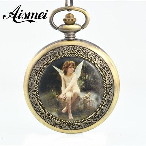 20pcs lot New Western Style Angel Lover Bronze font b Steampunk b font Vintage Automatic Pocket