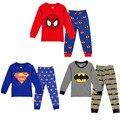 Осень бренд Супермен девушки мальчик Пижамы детская одежда устанавливает Пижамы мультфильм пижамы костюм Костюм gap bebe выбирает