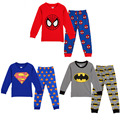 Otoño marca Superman girls boy Pijamas ropa conjuntos de Pijamas de dibujos animados ropa de noche del traje Del Chándal del cabrito bebe brecha choses
