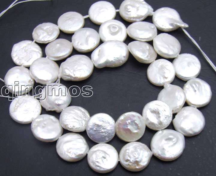 SALE Big 11 12mm Round White natural COIN PEARL strands 14 los73 Wholesale retail Free shipping