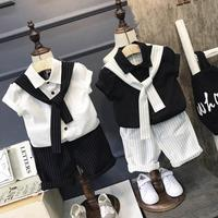 2019 Summer Kids Clothes Boys Gentleman Dress Necktie Cotton Short Sleeve Clothing Set Stripe Pattern Outfit
