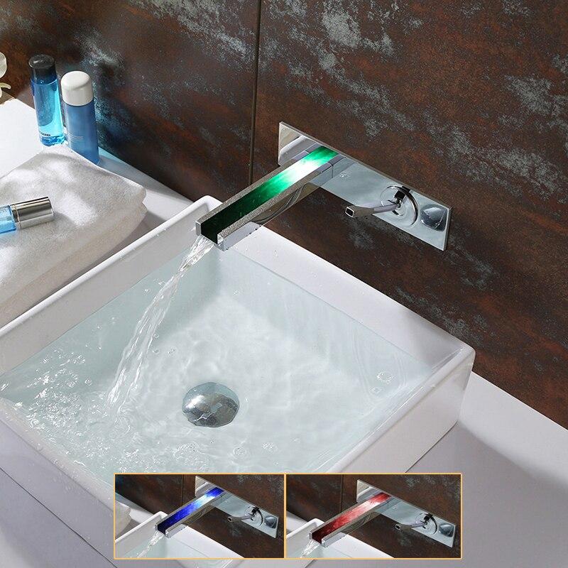 Настенный светодиодный смеситель для раковины с водопроводом, латунный хромированный смеситель для ванной комнаты, 3 вида цветов, изменени