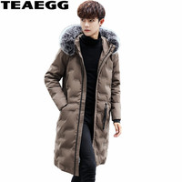 TEAEGG Mens Winter Parkas High Quality White Duck Down Jacket Men Clothing Real Fox Fur Collar Men's Down Jackets And CoatsAL579