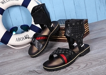 Summer black and white casual sandals fashion high leather leather open-toed Roman cool-soled suede thick-soled men's sandals