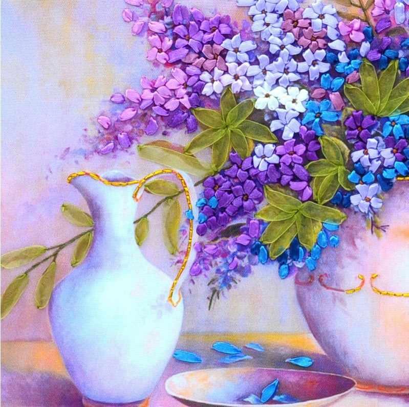 Рукоделие, DIY широкая лента наборы для вышивки крестиком, красивый сиреневый Виолет Цветы Букет вышивка крестиком Декор ручной работы