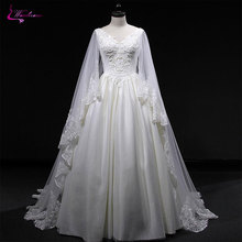 Waulizane Style V-Neck A-Line Wedding Dress Beading Sleeves