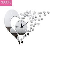 35x55cm 3D acrylic love design mirror clock Wall sticker bedroom wedding room TV sofa background decoration Wall sticker N2