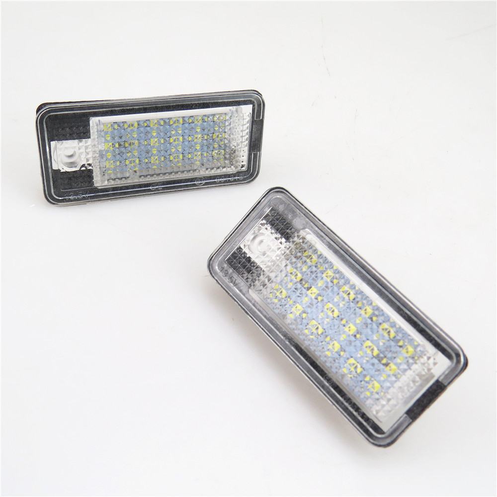 READXT 2Pcs Car Styling LED Number License Plate Light 18 SMD Led Bulb 12V Lamp For A4 A6 C6 A3 S3 S4 B6 B7 S6 A8 S8 Rs4 Rs6 Q7 2pcs car error free 18 led license number plate light white lamp for audi a3 s3 a4 s4 b6 b7 a6 s6 a8 q7