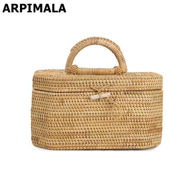 Arpimala Vietnam Style Straw Bags Vintage Designer Beach Bag For Women Rattan Handbags Travel Tote Clutch