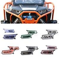 ATV UTV светодиодный фары L/R с DRL белый красный желтый и зеленый цвета синий Halo кольца Ангельские глазки для Polaris RZR 900 /1000 S XP Turbo
