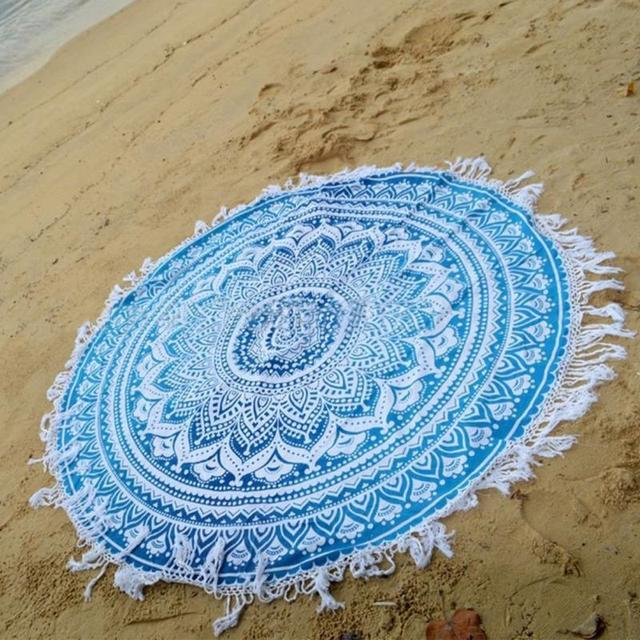 Blue Round Mandala Beach Towel Tassel Beach Yoga Mat Table Cloth Wall Tapestries