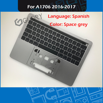 """Space Grey Laptop A1706 Top case + Spanish Keyboard for MacBook Pro Retina 13"""" Touch Bar A1706 Palmrest 2016 2017 Year"""
