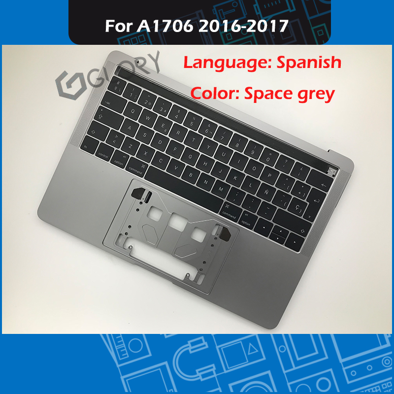 Space Grey Laptop A1706 Top case + Spanish Keyboard for MacBook Pro Retina 13 Touch Bar A1706 Palmrest 2016 2017 Year image