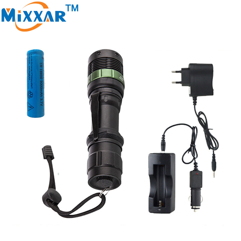 XM-L Q5 LED Flashlight Torch 3800 Lumen Zoomable Lamp Light Black led torch high light with battery and charger+car charger led flashlight torch e17 cree xm l t6 3800 lumens high power focus lamp zoomable light with one battery charger and sleeve