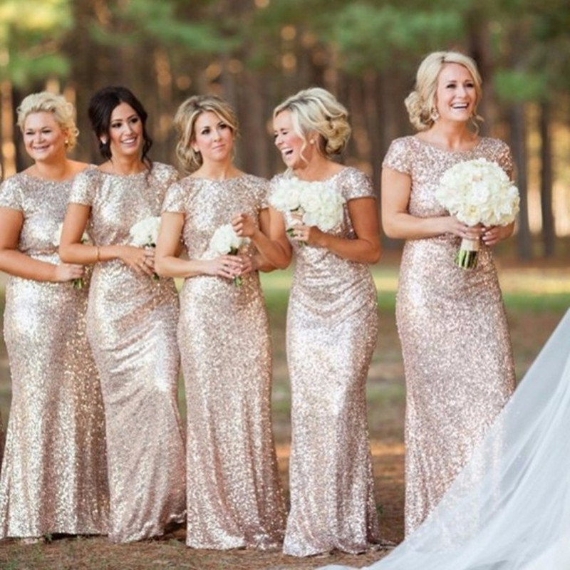 Champagne gold Long Bridesmaid Dresses Sequined Short Sleeve Floor Length Bridesmaid Dress 2016 Prom Gown Wedding Party Dress