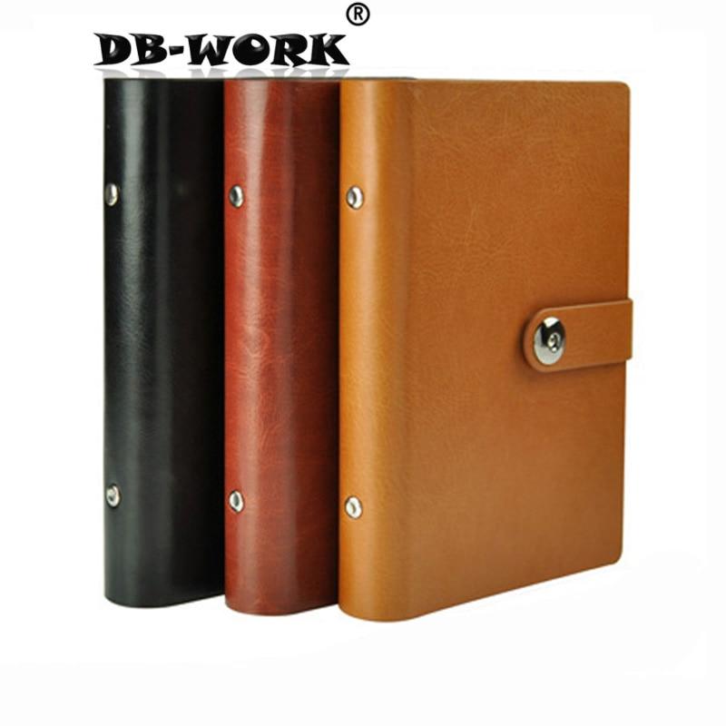A6 A5 B5 metal binder Notebook Business Leather notebook Business office stationery notepad notebook season b5 18k26