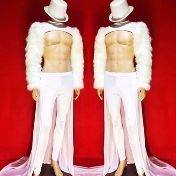 Big Size Personality White Feather Sleeves Men's Jacket Tail Men Singer DS Show Outfit Bar Party Show Stage Outfit Set