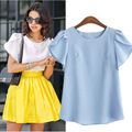 2017 Summer Fashion Women Tops Blouses O-neck Chiffon Casual Vintage Shirts Plus Size M-5XL Women's Butterfly Sleeves Blusas