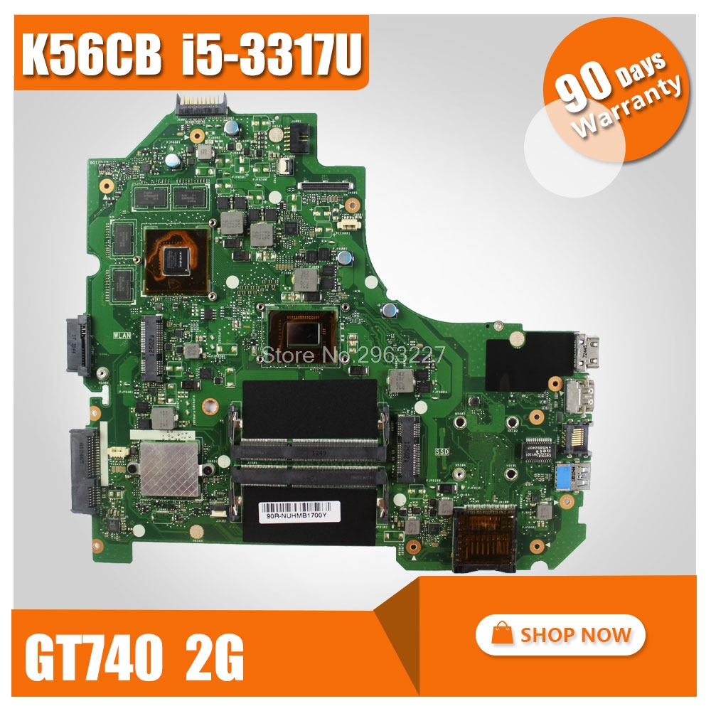 K56CB Motherboard For ASUS S550 S550C S550CM S550CB K56 K56C S56C A56C K56CM REV2.0 Mainboard I5-3317U GT740 2G N14P-GE-OP-A2 laptop replacement keyboard without frame compatible with asus s550 s550ca s550cb s550cm us layout black color