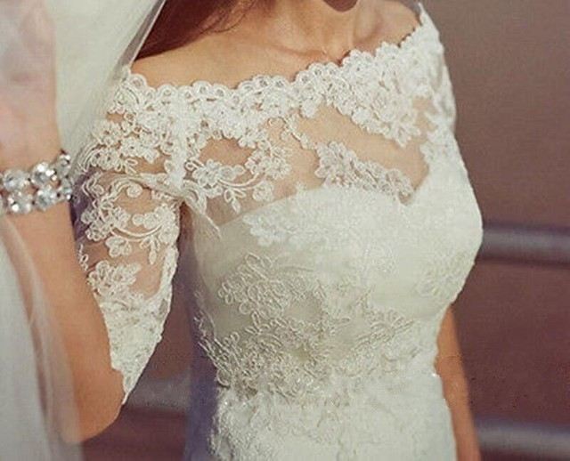 Off the Shoulder Lace Appliques Wedding Bridal Jackets Half Sleeves Bolero Wraps Custom Made