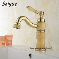 Royal Yellow Marble Wasserhahn Basin Hot and Cold Giada Taps Gold Lavatory Bathroom Grifo Jade Stone Faucet