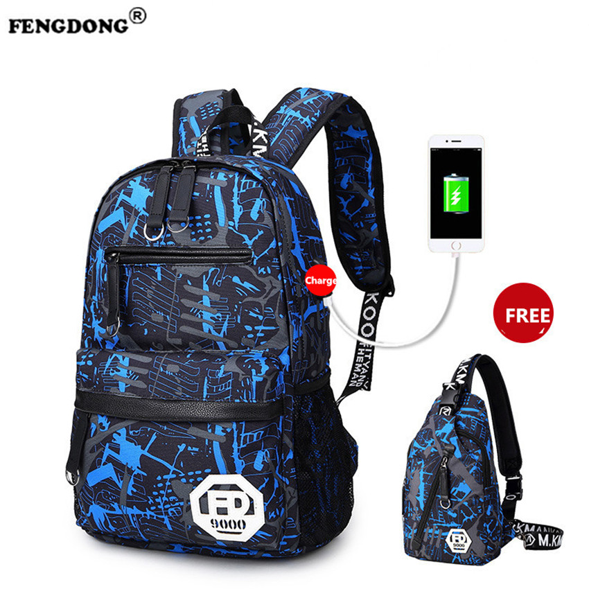 FENGDONG School Bags for Teenagers Oxford Waterproof USB Charge Designer College Bags Youth Brand Men Laptop Backpack Male  fengdong men backpack oxford youth fashion brand usb charge designer back pack college bags school bag waterproof backpacks male