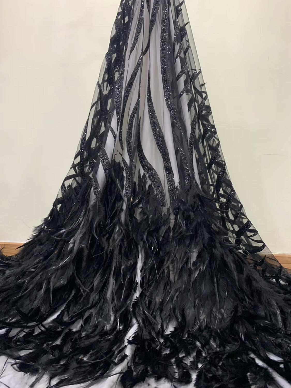 Luxe haute couture plume dentelle tissu paillettes haute qualité africain bazin riche getzner brode bazin brode femmes mode dentelle