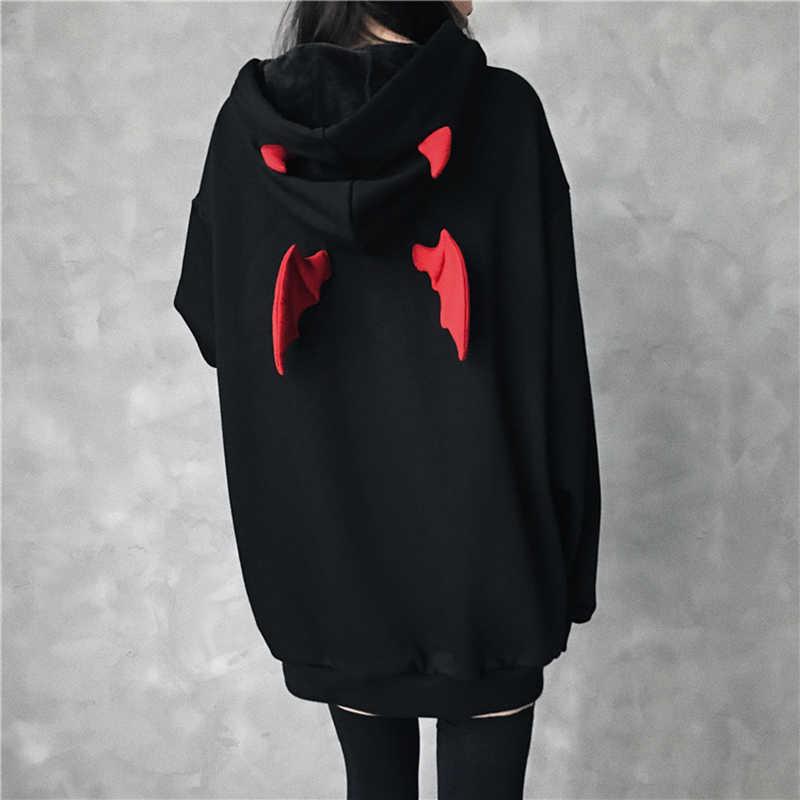 Черные готические женские толстовки, весна 2019, толстовки средней длины, пуловеры, топы, верхняя одежда, плюс бархат, утолщенное теплое пальто, Осень-зима