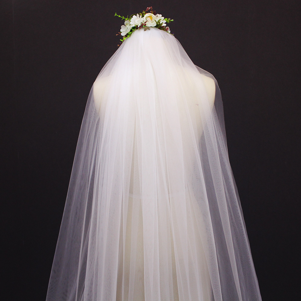 2019 Elegant 2.5 Meters 2 Layers Wedding Veil 2 T 2.5 M Beautiful Bridal Veil Voile Mariage-in Bridal Veils from Weddings & Events    3