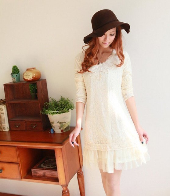 2012 spring new sweet complex Gulei Si lace baby collar long-sleeved dress 058