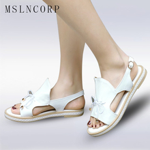 все цены на Plus Size 34-43 New Women Summer Sandals Flats Ladies Shoes Fashion Open Toe Fish Mouth Back Strap Buckle Roman Sandal Shoes онлайн