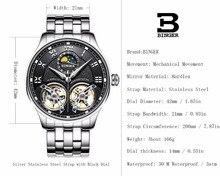 Double Tourbillon Switzerland Watches BINGER Original Men's Automatic Watch Self-Wind Fashion Men Mechanical Wristwatch Leather