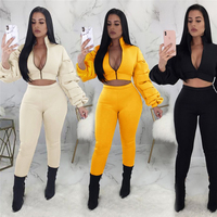 Woman Jogger Set Scuba Puff Sleeve Jacket Coats and High Waist Legging Pants Sets Casual Sweat Suits Autumn Winter 2 Pieces Set