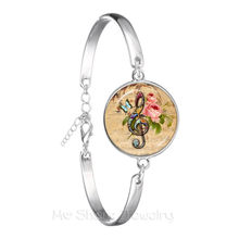 Music Note Art Picture Gem Glass Dome Bracelet For Men Women Music Lover's Gift Chain Bangle Souvenirs Gift Teacher's Day(China)