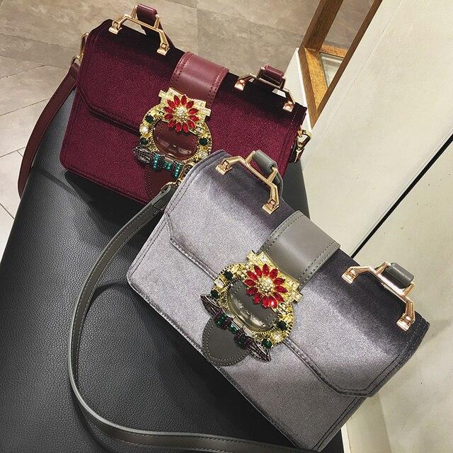 98b8d5167716 Women Luxuy Bag Brand Velvet Saffiano Tote HandBag Fashion Diamond Lock Bag  Women Shoulder Bag Rhinestone