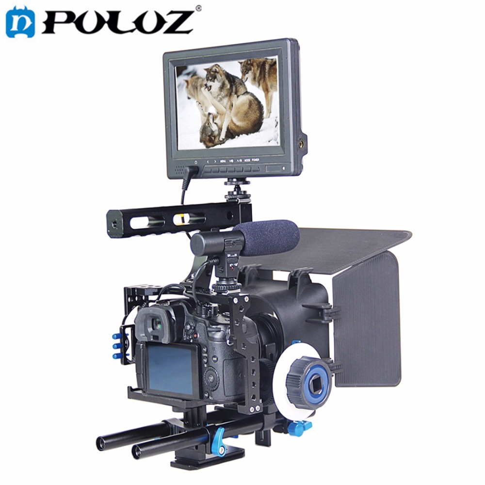 Handle Video Camera Cage Stabilizer Kit with Matte Box & Follow Focus for Panasonic Lumix DMC-GH4 Sony A7SII