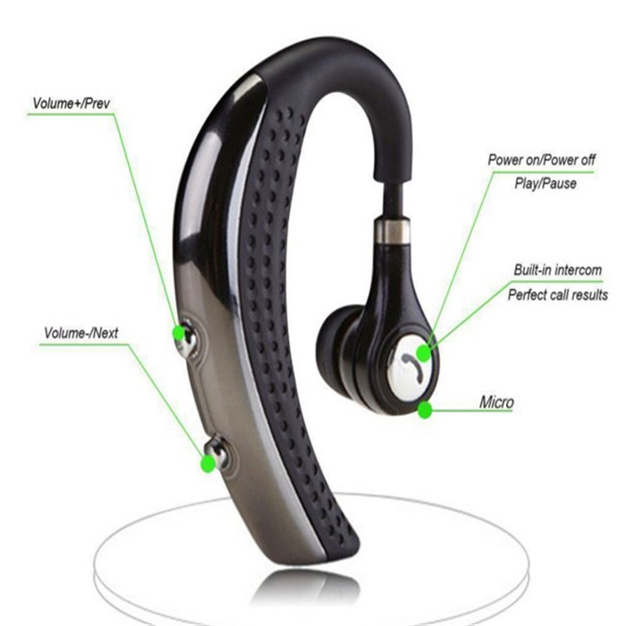 mono handsfree handset active noise reduction in ear bluetooth earpiece with voulme control and microphone