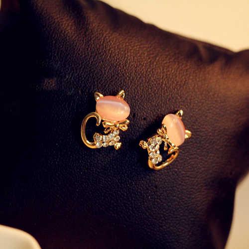 1 זוגות ורוד יפה נשי Zirconia חתול Stud עגילי זהב צבע CZ קריסטל עגילים לנשים תכשיטי Animal Crossing