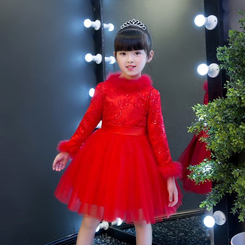 2017 New Fashion Luxury Chinese Red Color New Year Princess Lace Dress For Children Girls Kids Winter Thick Warm Birthday Dress new year spring 2016 new corduroy pleated dress dress red princess dress