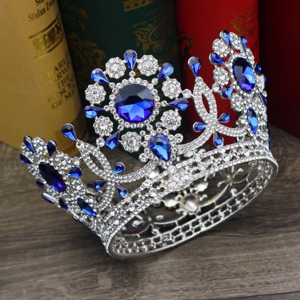 Crystal Gold Queen King Crown Bride Headpiece Women Wedding Bridal Tiara Prom Diadem Hair Oranments Head