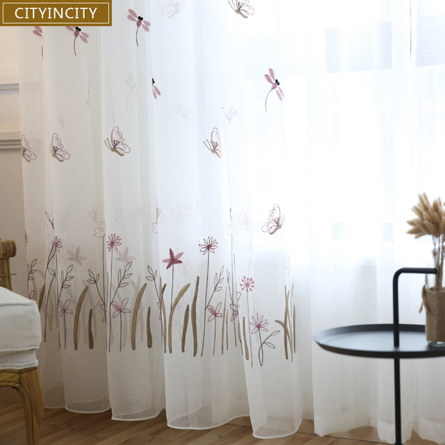 CITYINCITY Tulle Dragonfly And Butterfly Kidu0027s Curtains For Bedroom 3d Curtain  Embroidered Princess Style White Voile