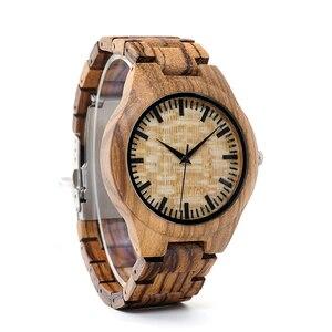 Image 4 - BOBO kuş WG23 erkek tasarımcı el yapımı ahşap kol tam doğal zebra ahşap Band Quartz saat ile ahşap kutu Relogio