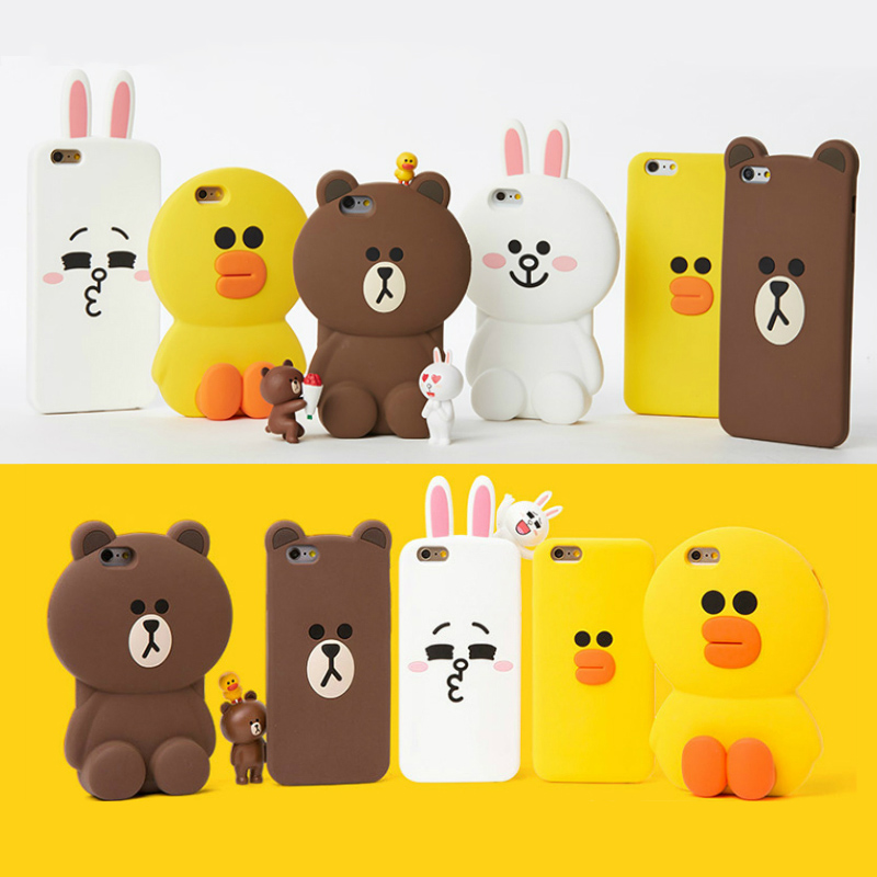 Cute 3D Cartoon Cony Sally Bear Rabbit Chicken Phone Case for iPhone 5 5s SE 6 6s 7 7 Plus 8 8 Plus X Soft Silicone Cover Fundas