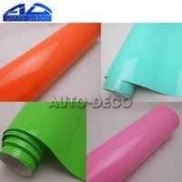 Bright Glossy Vinyl Car Decal Wrap Sticker Pink Orange Green Tiffany Blue Gloss Film Wrap